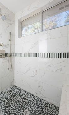 Black Amp Grey Meshed Pebbles On The Shower Floor 12x24 Wall Tile With Glass Mosaic Decorative
