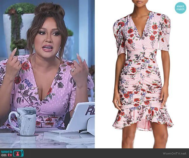e752c953abd66d Adrienne s pink floral ruched dress on The Real
