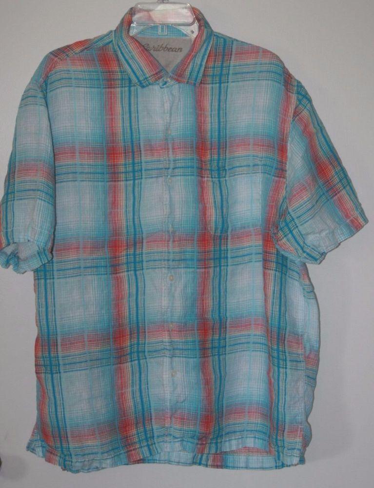 Caribbean Short Sleeve Button Front Linen Shirt Plaid XL #Caribbean #ButtonFront
