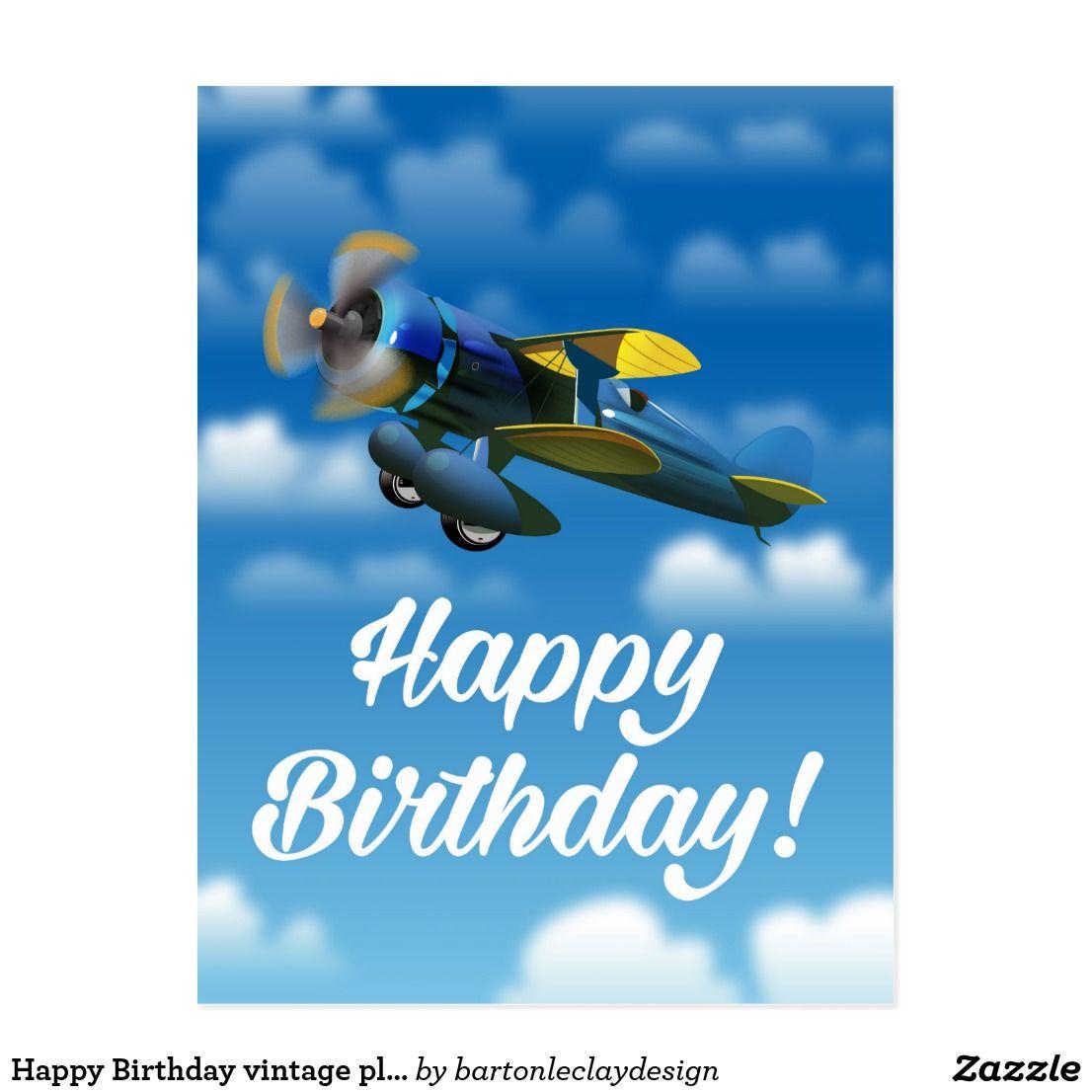 Happy Birthday Vintage Plane In A Blue Sky Postcard Zazzle Com