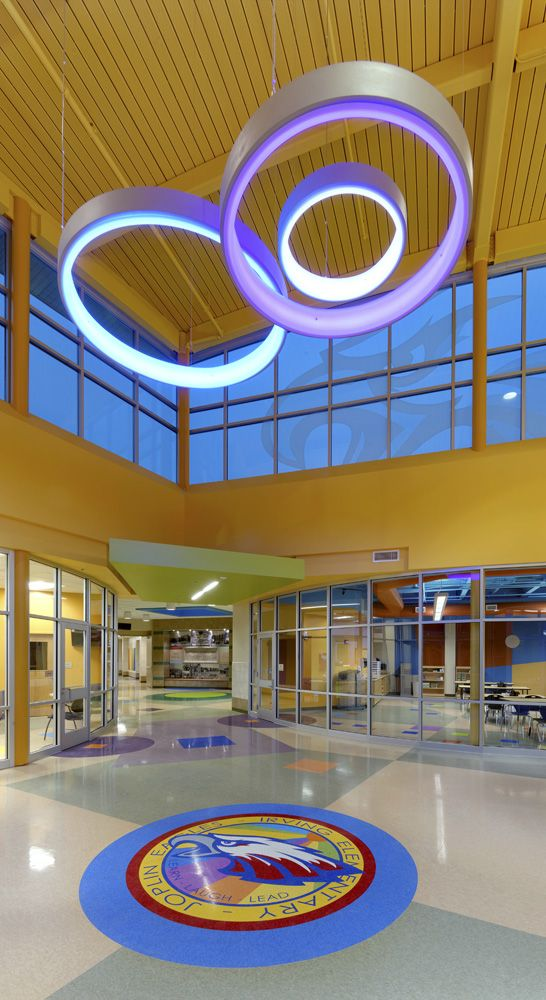 Fun Elementary School Entryway With Color Changing Led