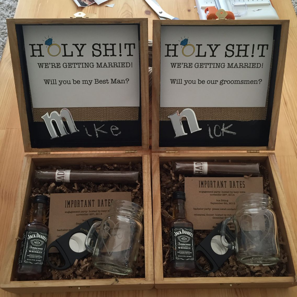 Groomsmen proposal i like the box but not so much the saying