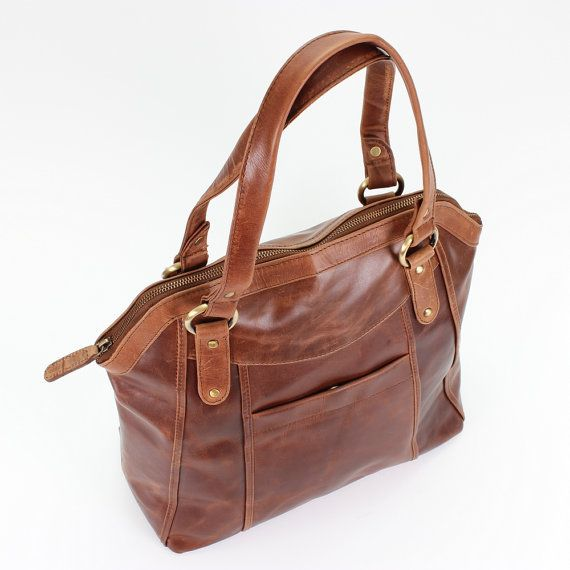 Large Brown Leather Handbag Tote By Theleather On Etsy