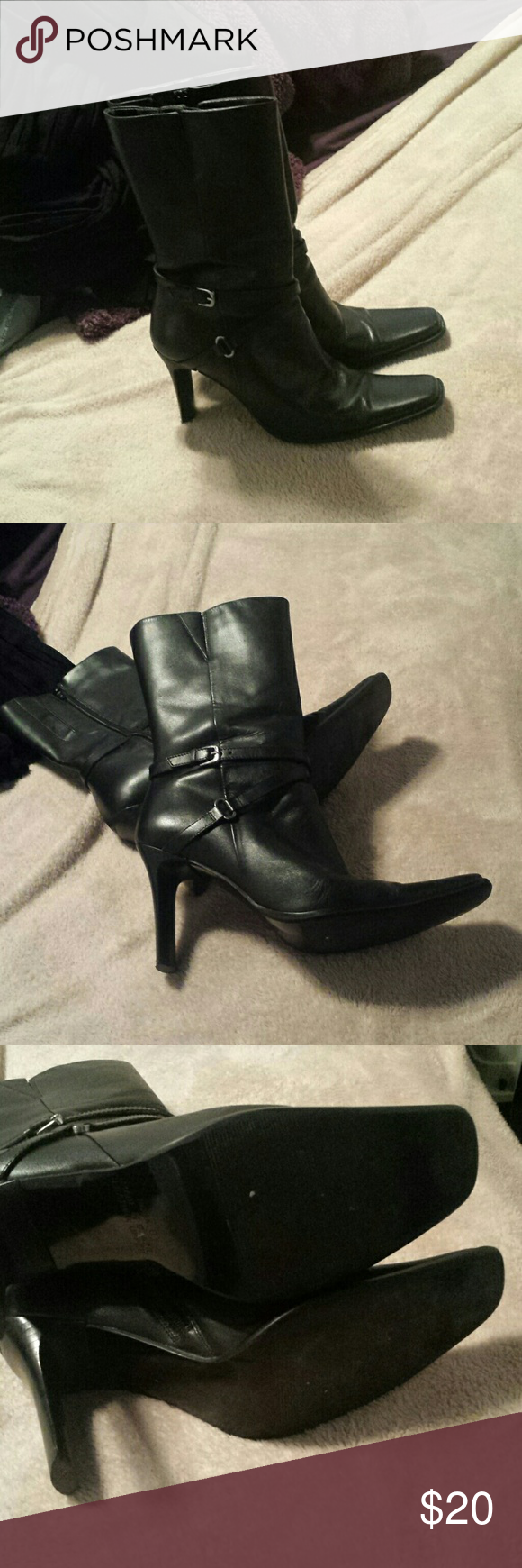 Paola Ruggeri Black Heeled Boot That Comes to Calf This black heeled boot is made by Paola Ruggeri. They are a Rona size 8. These boots have a thin square heel, with square toes, and bands with buckle for decor. These boots are in excellent condition. Paola Ruggeri  Shoes Heeled Boots