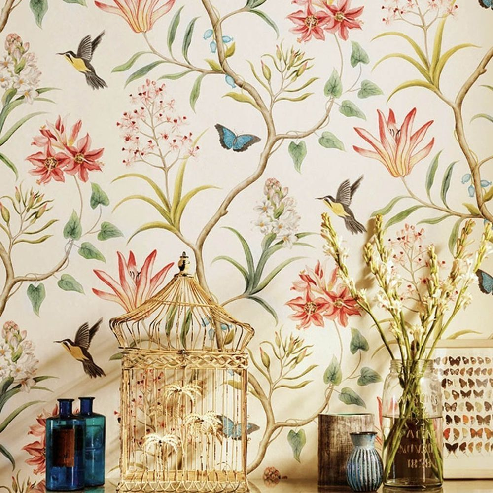 Details About Vintage Floral Bird Wallpaper Roll Self Adhesive