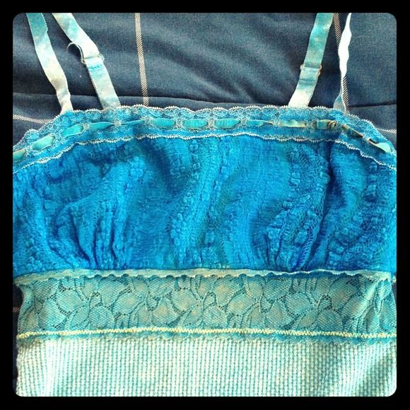 Cute vibrant blue Free People corset-inspired tank Vibrant blue, lacy, corset-esque, Free People tank! Lightly worn, size small Free People Tops Tank Tops