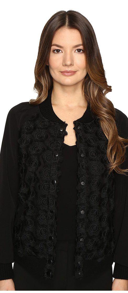 ZAC Zac Posen Britt Bomber Jacket (Black) Women's Coat - ZAC Zac Posen, Britt Bomber Jacket, ZP-16-1097-27-001, Apparel Top Coat, Coat, Top, Apparel, Clothes Clothing, Gift, - Fashion Ideas To Inspire
