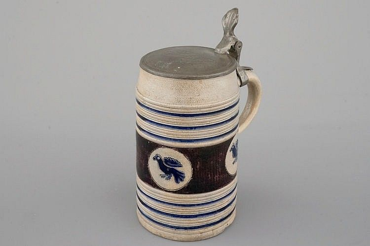 A fine Westerwald incised and pewter-mounted beer stein, 17th C.