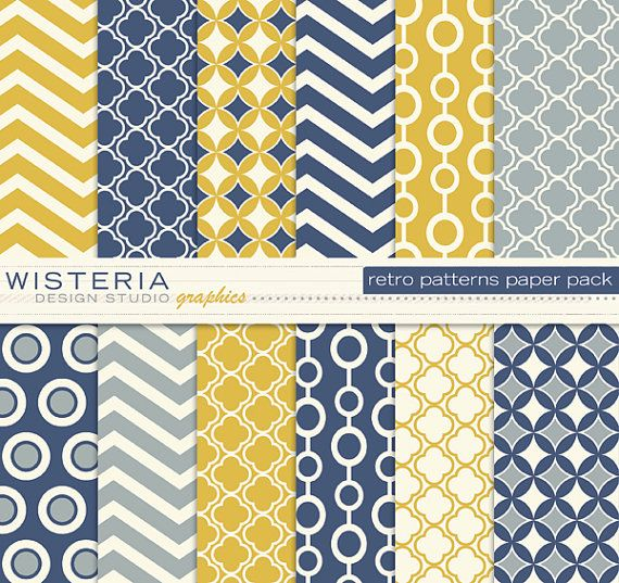 Retro Patterns Paper Pack - Blue Yellow Ivory Grey - INSTANT DOWNLOAD - For Personal & Commercial Use - Digital Designs