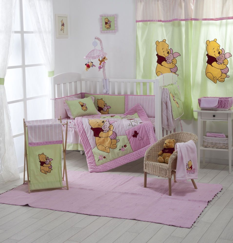 4 piece pink winnie the pooh baby crib bedding cot set rrp $250 00