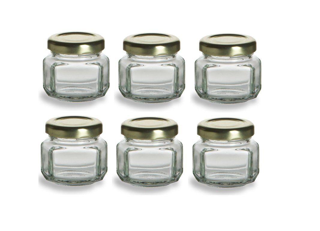 Nakpunar® 6 pcs, 1.5 oz Mini Oval Hexagon Glass Jars for Jam, Honey ...