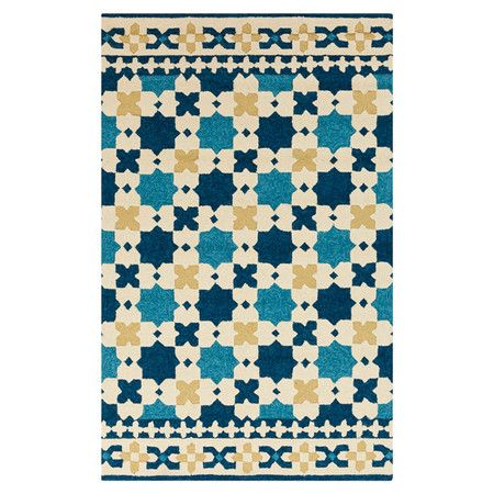 Hand Hooked Indoor Outdoor Rug With A Latticework Motif Product Rugconstruction Material 100 Polypropylene Outdoor Rugs Indoor Outdoor Rugs Blue Rug