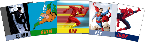 """Superhero Action Cards. Sing """"If You're Superman and you know it, fly through the air"""" etc, or play a superhero freeze game  