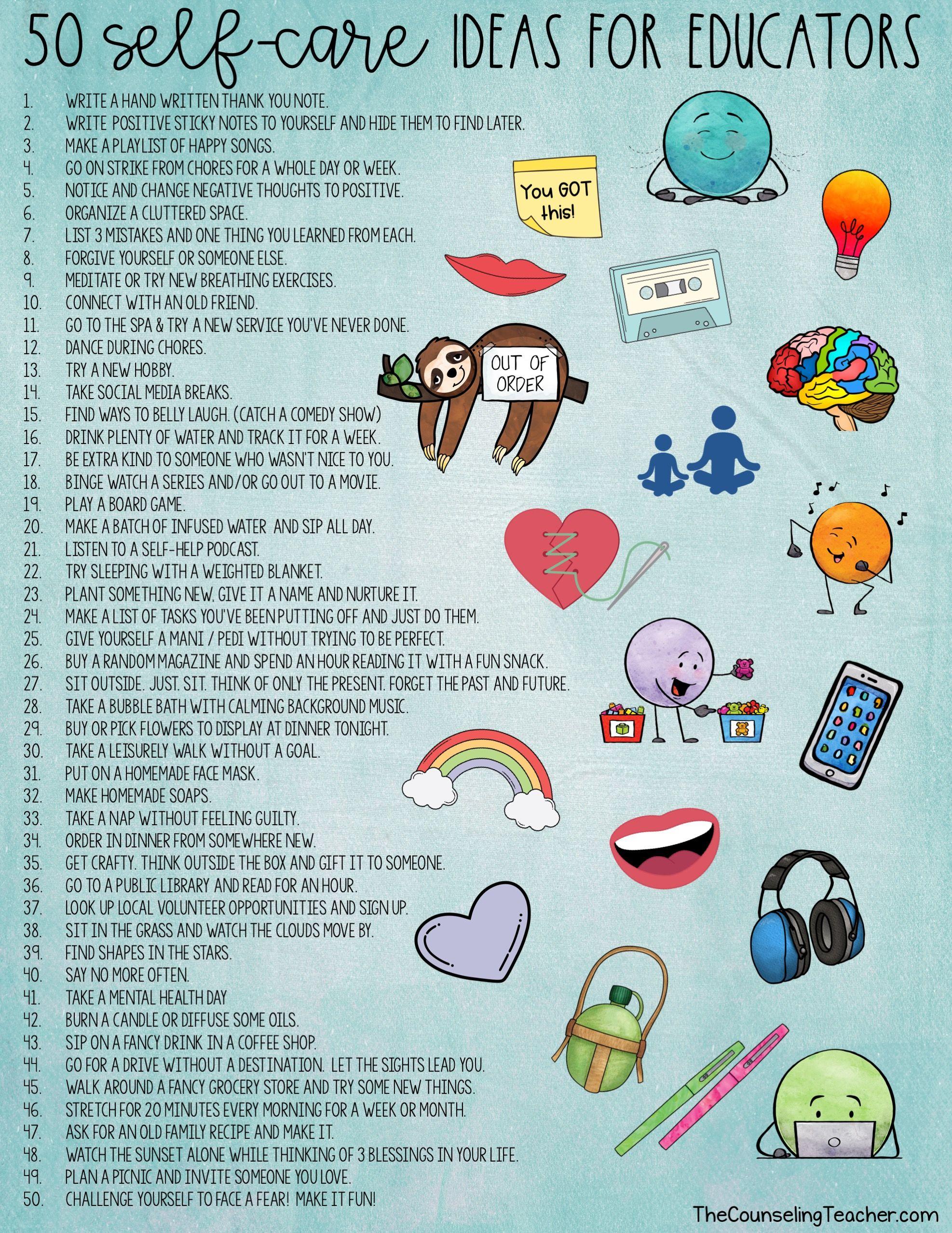 50 Self Care Ideas For Teachers In