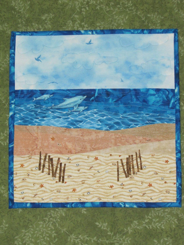 Dolphins Swimming at the Beach Art Quilt Fiber Art Quilt. $45.00, via Etsy.