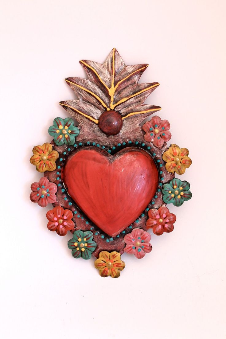 Tin Sacred Heart Mexican Wall Art Multicolored Flowers Flora