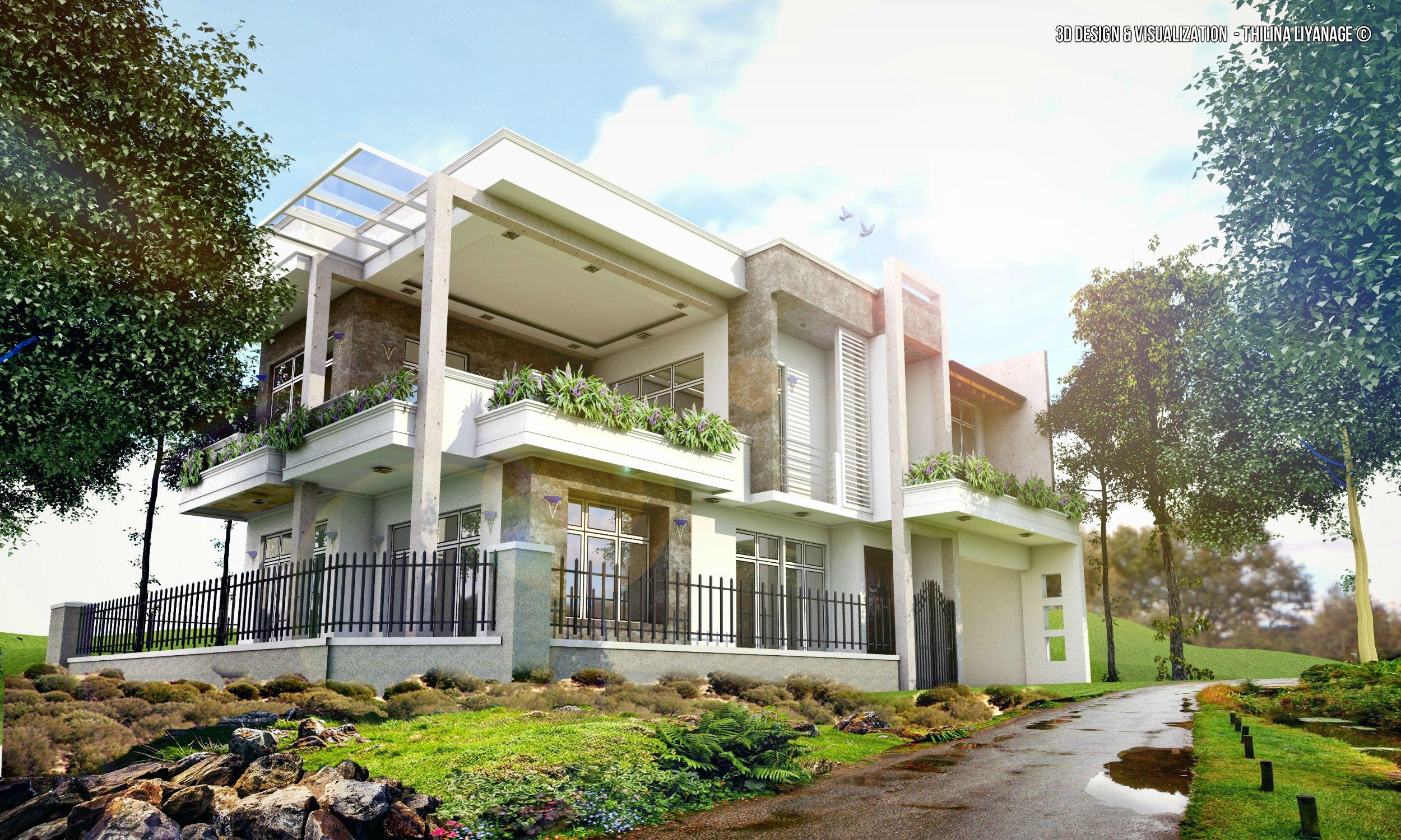 Exterior: Modern House,location At Malabe,Sri Lanka 3d Scene Made