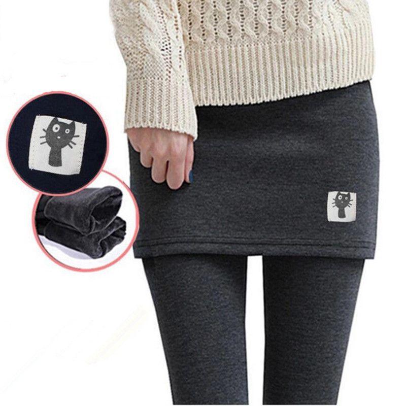 44ed6061d Autumn Winter Women Fleece Skinny Pants Plus Size Thick S-3XL Skirt and Long  Trousers Warm Soft Elastic Leggings