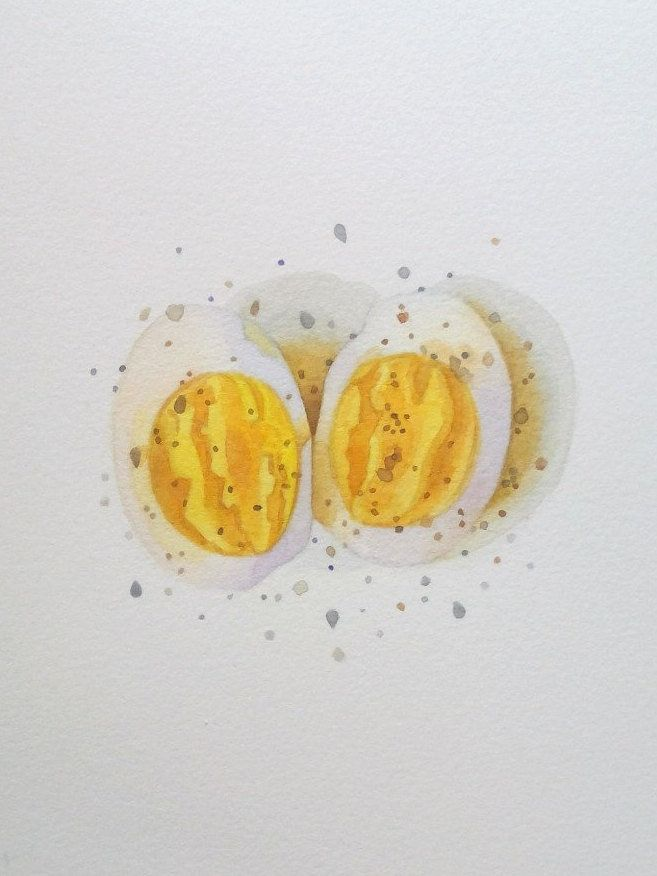 Small watercolor artwork for kitchen / boiled egg painting / 5x7 ...