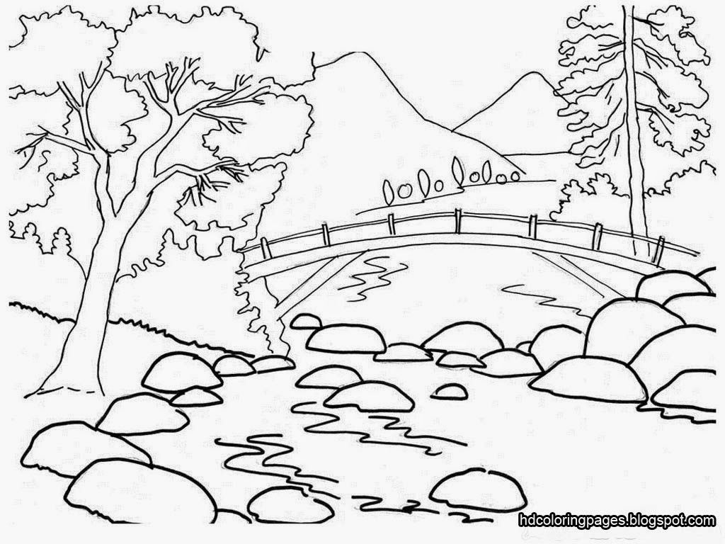 Farm Scenery Drawings Gardening Coloring Pages For Kids