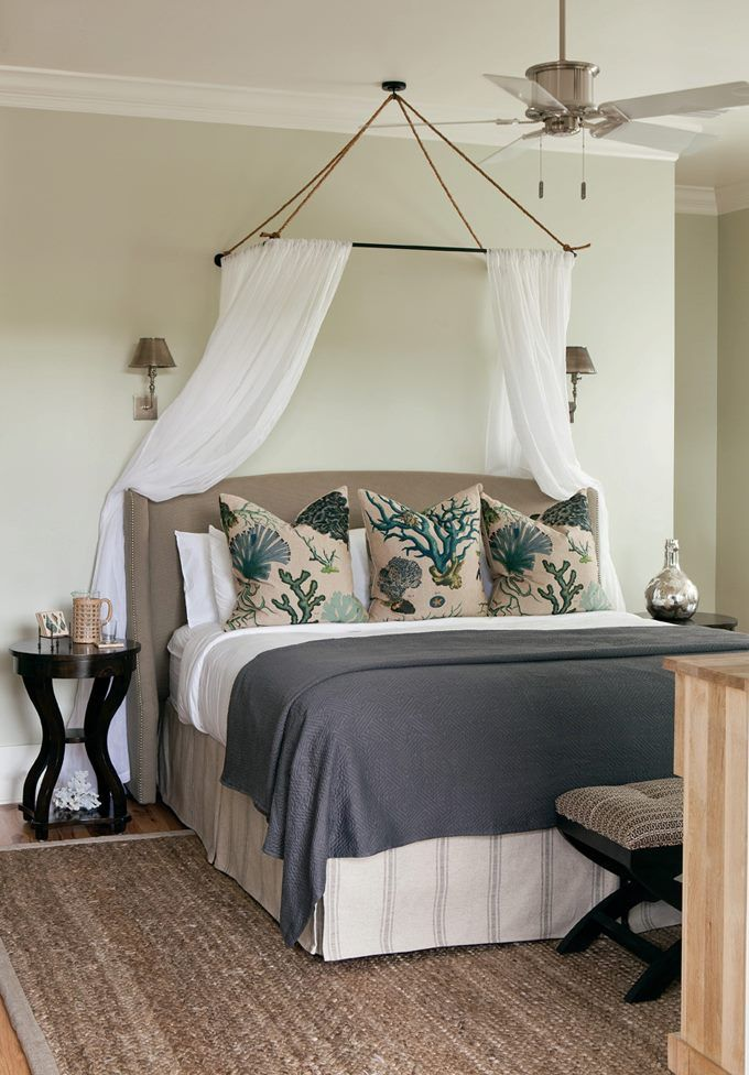 house of turquoise interior philosophy love how the headboard and bed skirt match love the pillows too