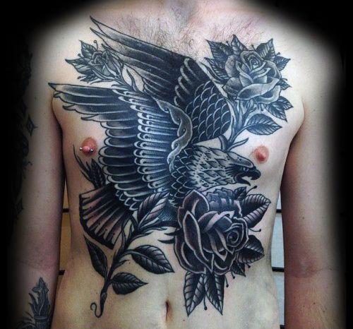 Manly black ink rose flower eagle traditional mens chest for Black eagle tattoo shop