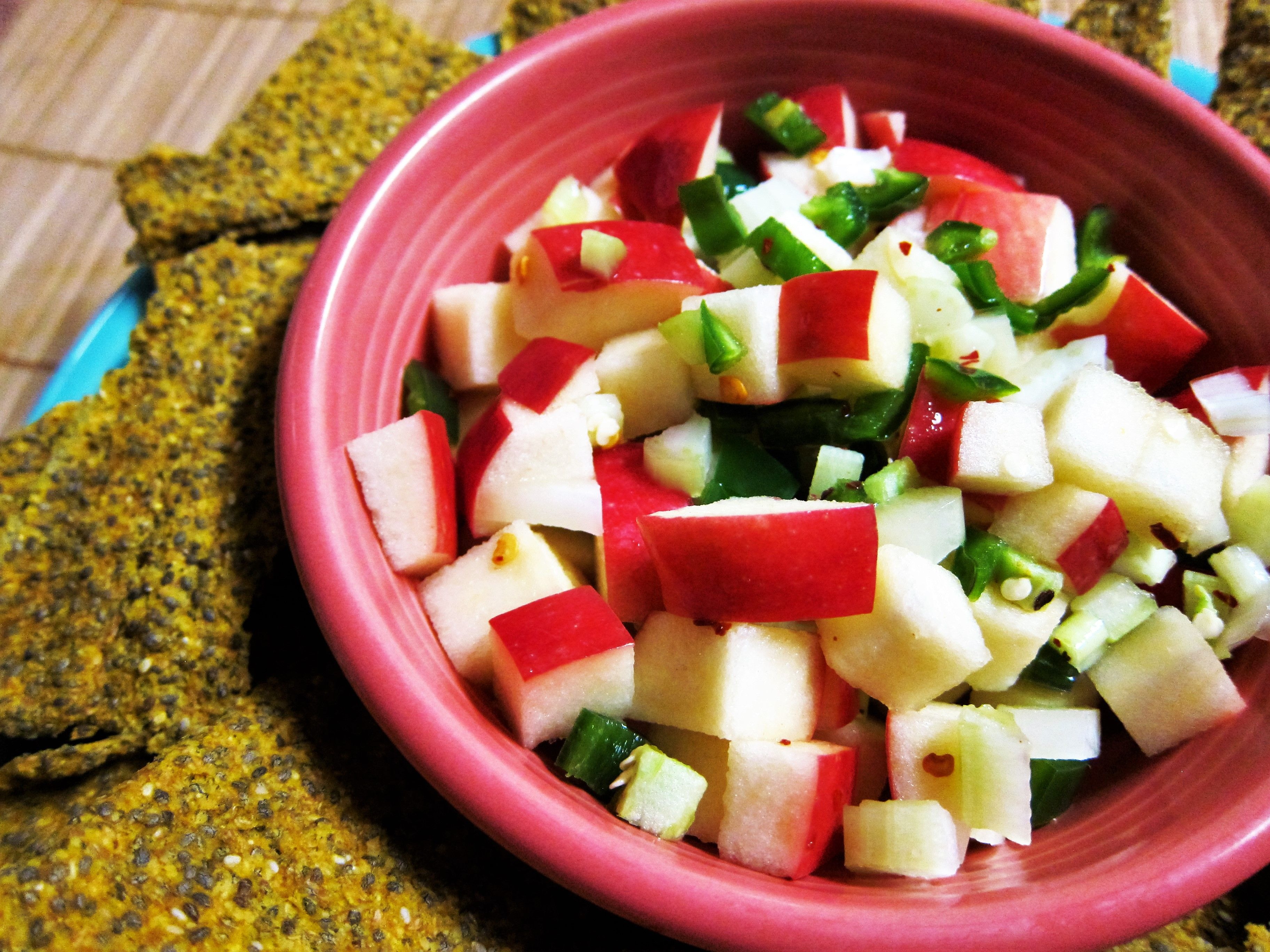 Spicy Raw Apple Salsa and Pumpkin Chia Chips | Fragrant Vanilla Cake