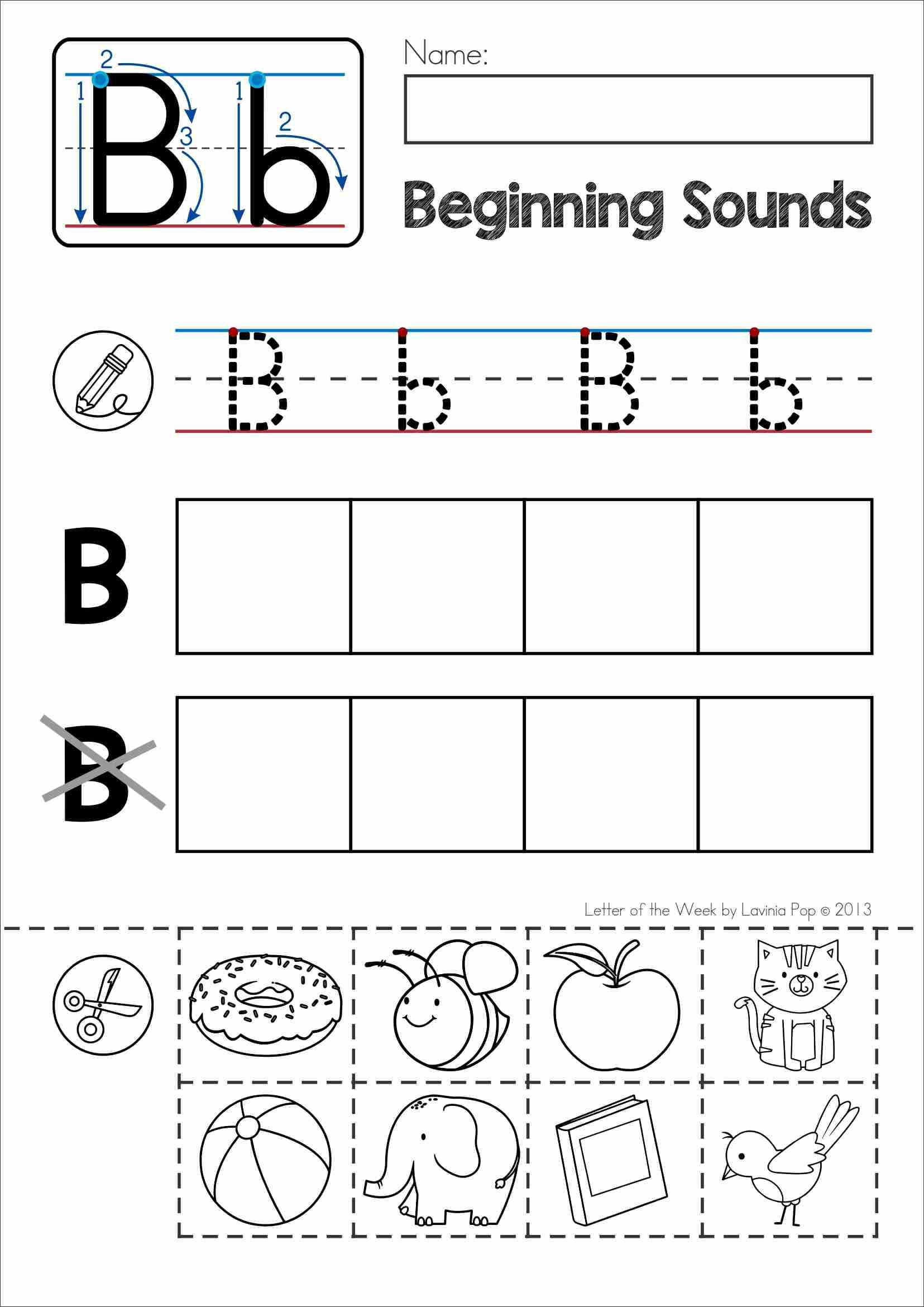 Alphabet Sound Worksheets : Free phonics letter of the week b beginning sounds cut