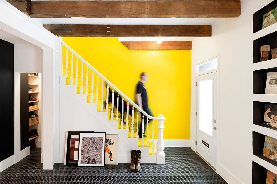 Decorist Showcases A Vibrant Yellow Accent Wall In A 1880s Row House House And Home Magazine Row House House