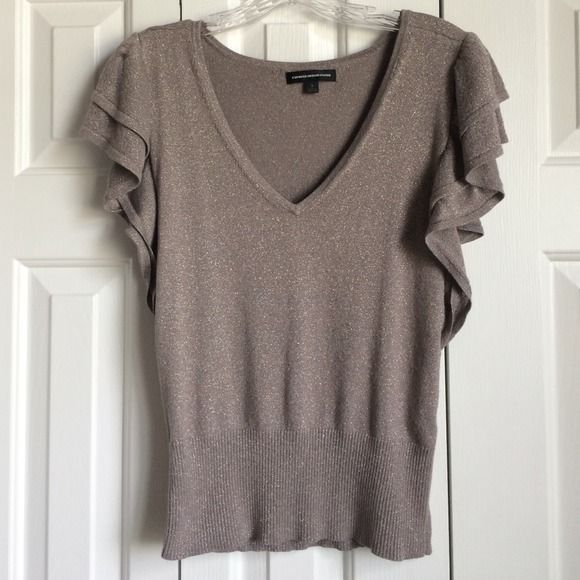 Express shirt Color of shirt is a pewter gray with a golden metallic thread. Express Tops