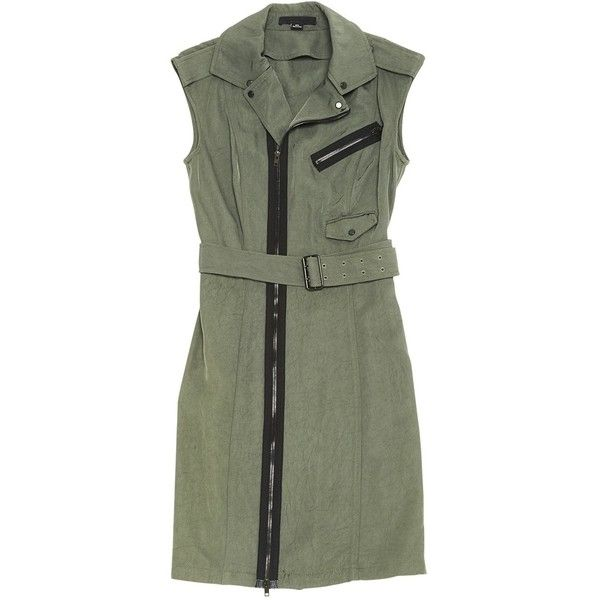 Pre-owned Alexander Wang Mid-Length Dress (2.110 DKK) ❤ liked on Polyvore featuring dresses, khaki, khaki green dress, green dress, preowned dresses, mid length dresses and green color dress