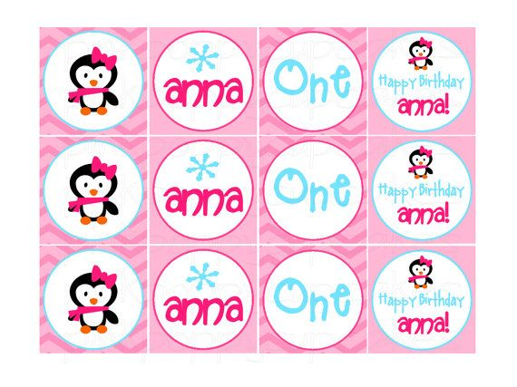 Penguin Winter ONEderland Birthday Cupcake Toppers DIY Printable On Etsy 887 AUD