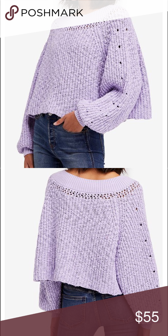 0729fd7d494cf Free People boat Sweater Free people light purple boat neck Sweater. The  bottom has a cropped cut. Can be worn like crew neck or off the shoulders  Textured ...
