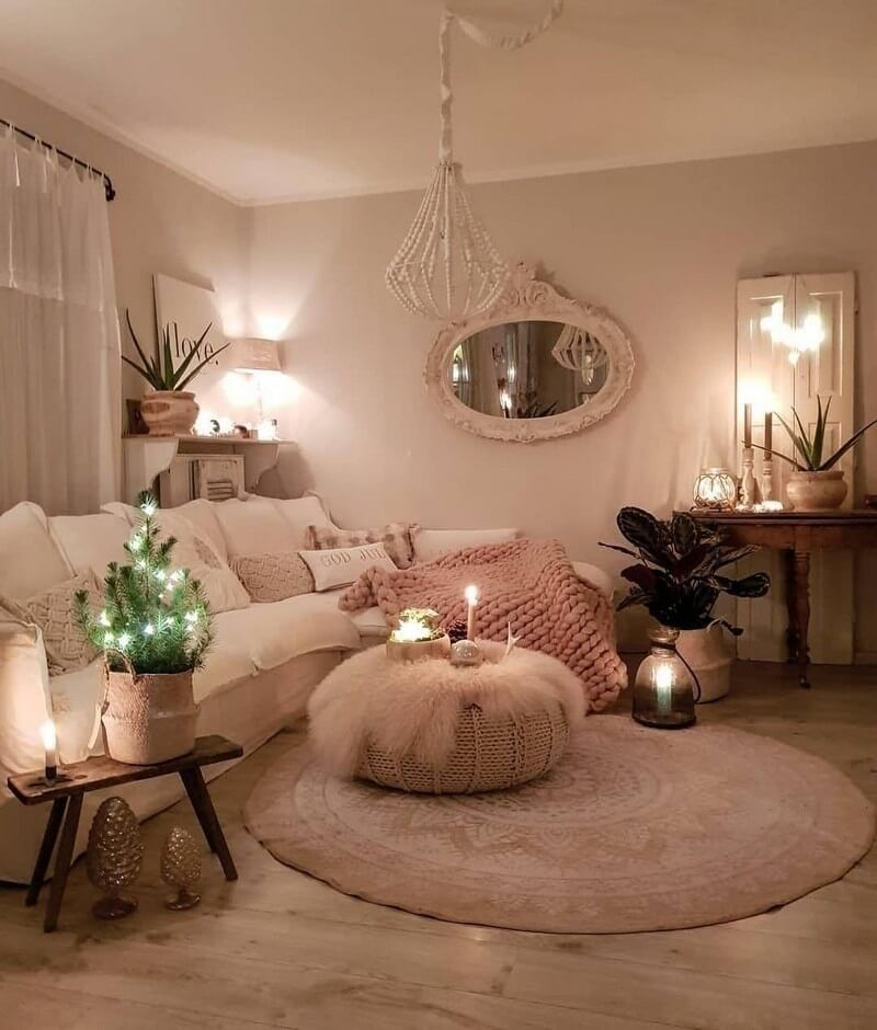 With This Luxury Boho Style Lounge Room That Has A Calm
