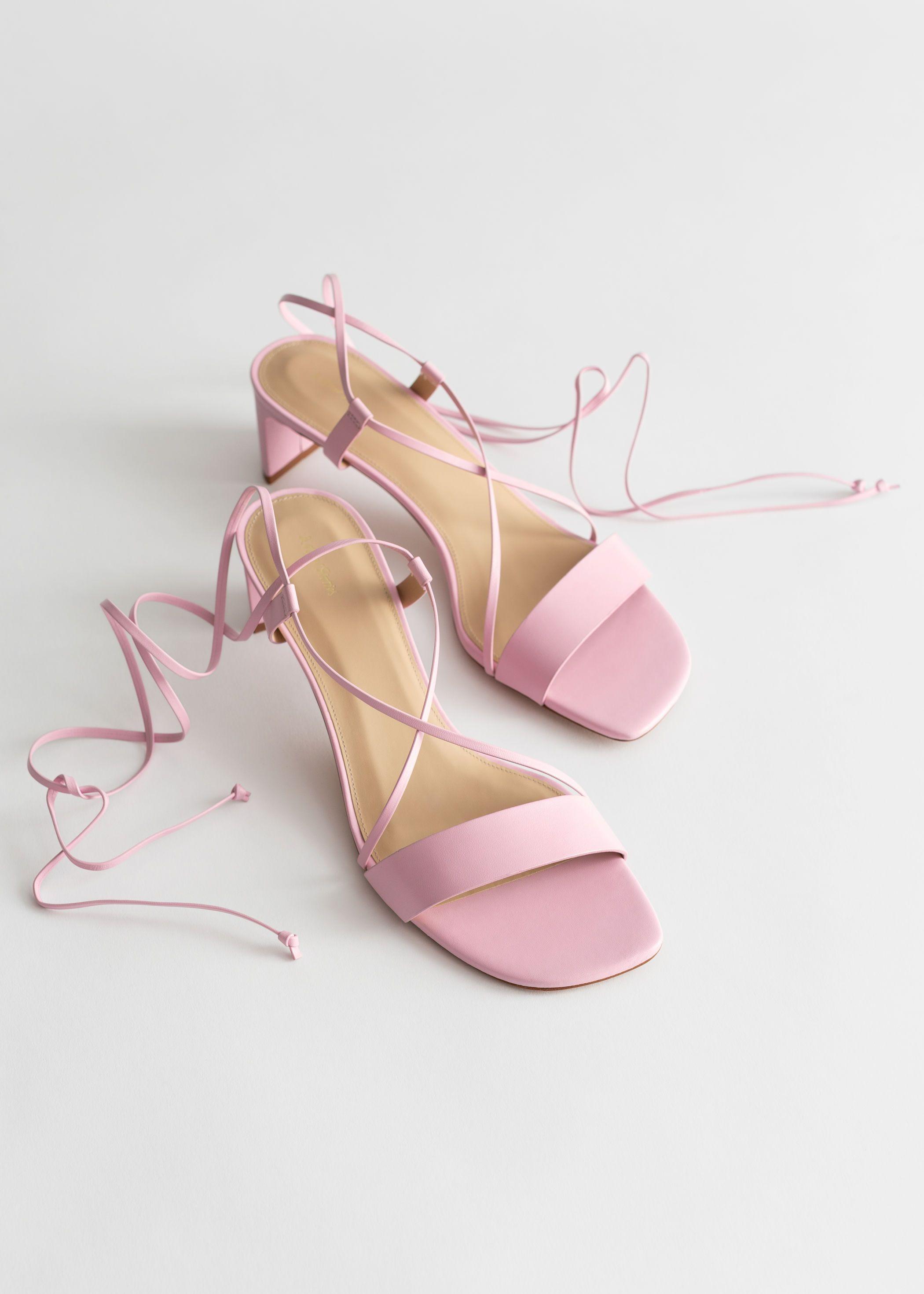 Nude Criss Cross Block Heel Sandals - CHARLES & KEITH UK