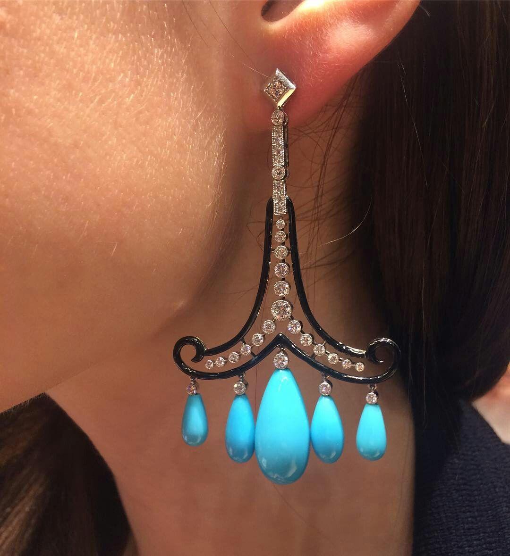 @twentyonejewels. Turquoise, enamel and diamond earrings, by Cicada New York. @baselworldofficial