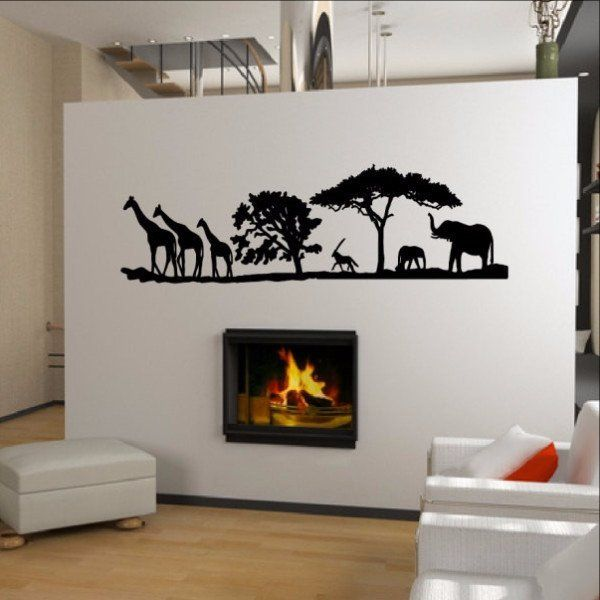 African Savannah Animals Vinyl Wall Decal Chats Savannah - Wall decals animalsafrican savannah wall sticker decoration great trees with