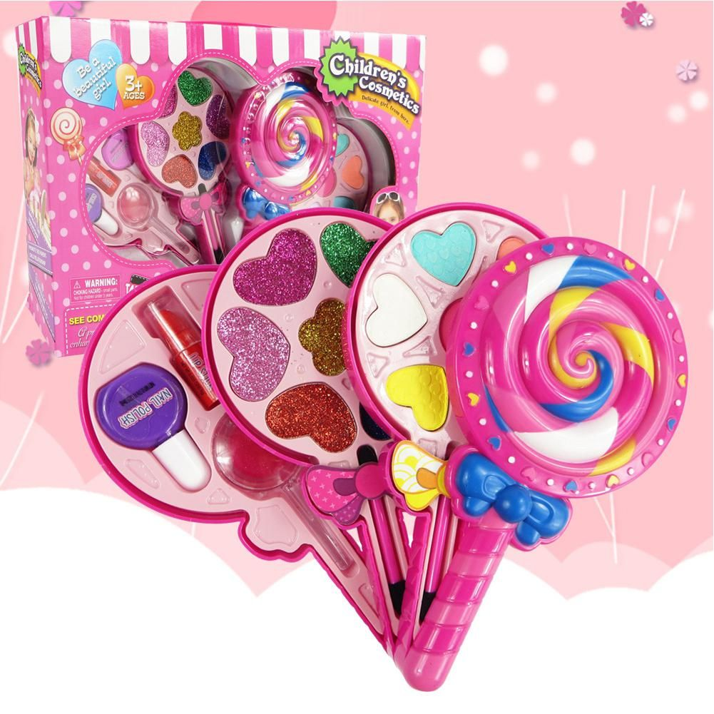 Kids Girls Play House Lollipop Shape Makeup Box