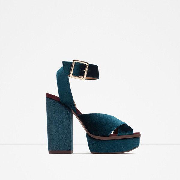 23db0c942cf0 Zara Velvet Platform Sandal (820 SEK) ❤ liked on Polyvore featuring shoes