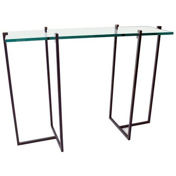 Console Table By Jm Szymanski In Blackened Steel And Glass (274.900 RUB) ❤ liked on Polyvore featuring home, furniture, tables, accent tables, black, console tables, glass table, black glass furniture, black glass console table and glass furniture