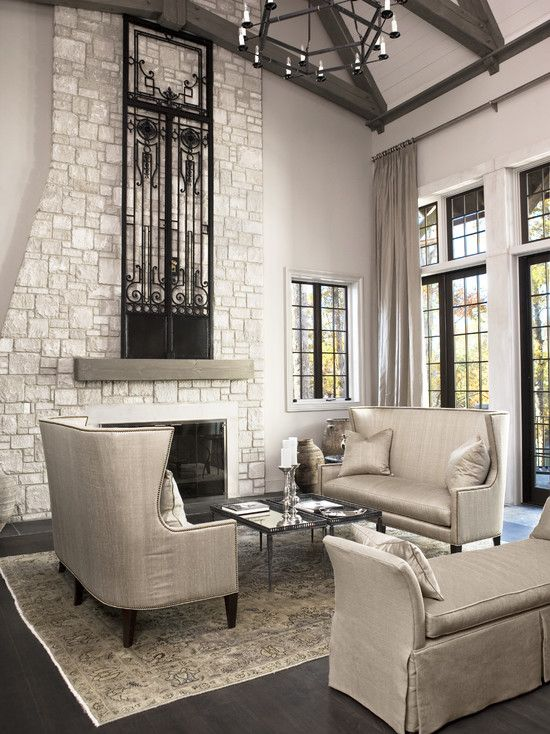 Simple And Elegant Cool Sofas And Love The Fireplace Gray Living Room Design