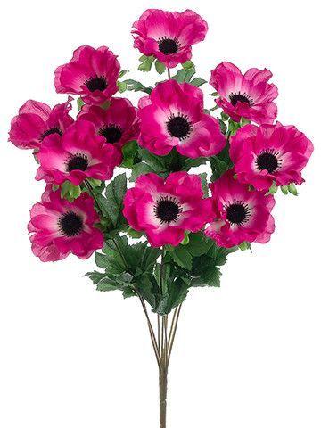 Anemone silk flower bush in dark pink cerise 35 blooms x 18 tall flower anemone silk mightylinksfo