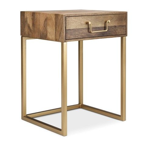Gold Wood Accent Table Nightstand White Side Tables Fall