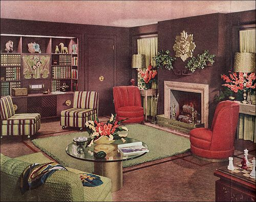 1949 Armstrong Living Room 1940s Home Decor Retro Living Rooms Vintage Living Room