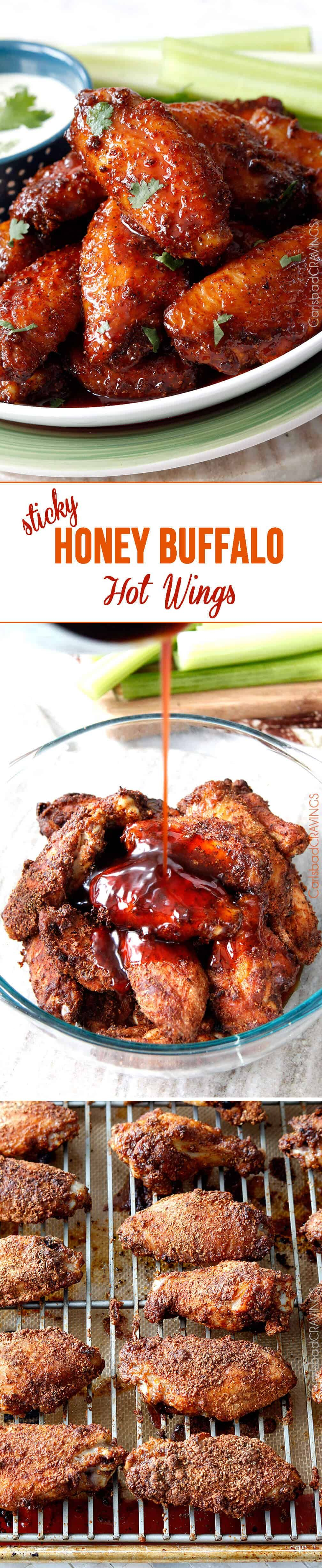 Perfect for Game Day or any day! Sticky Buffalo Honey Hot Wings - the BEST buffalo wings you will ever devour and as easy as tossing in a rub, baking and coating in an easy, tantalizing sauce. #appetizer #wings #buffalowings via @carlsbadcraving