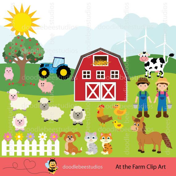 Farm Animals Clipart Clip Art Set Barnyard Farmhouse