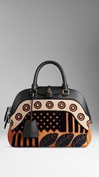 Medium Velvet and Leather Bowling Bag | Burberry