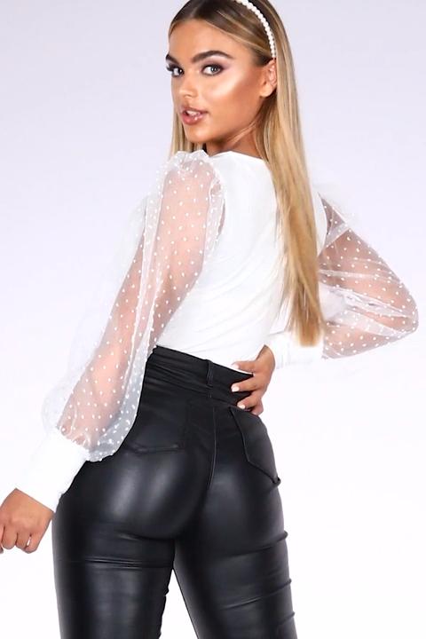 Photo of Cream Puffärmel Bodysuit