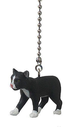 Black Amp White Manx Cat Vinyl Ceiling Fan Pull Light Chain