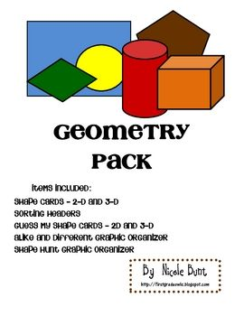 This file contains cards of various 2D and 3D shapes. Students can sort their cards using the sorting headers by number of sides or name of shape. Also included are guess my shape cards for both 2D and 3D shapes. There is also a shape graphic organizer and a shape scavenger hunt form for students to use.